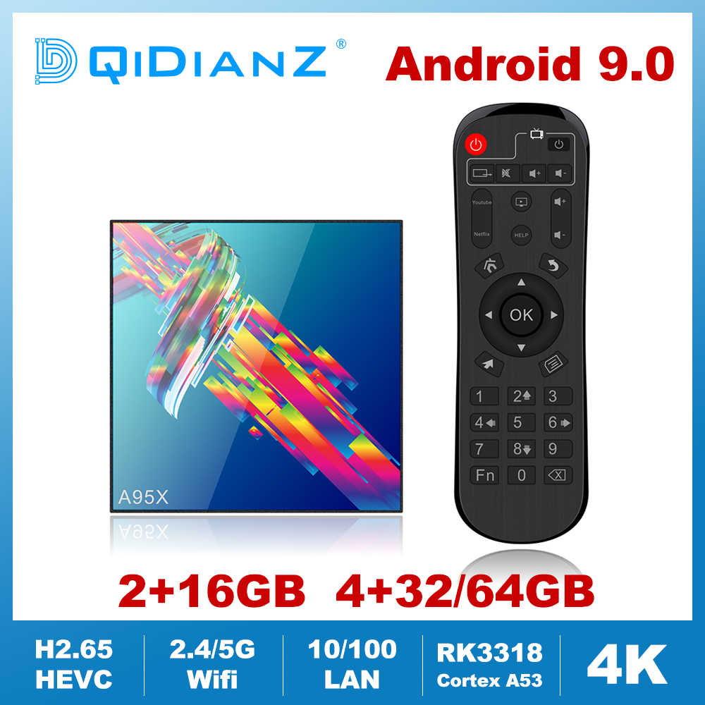 A95XR3 Android 9.0 czterordzeniowy Cortex-A53 smart tv box 2.4/5GHz Wifi BT 4.2 odtwarzacz multimedialny 4K dekoder Netflix Youtube VS H96 MAX