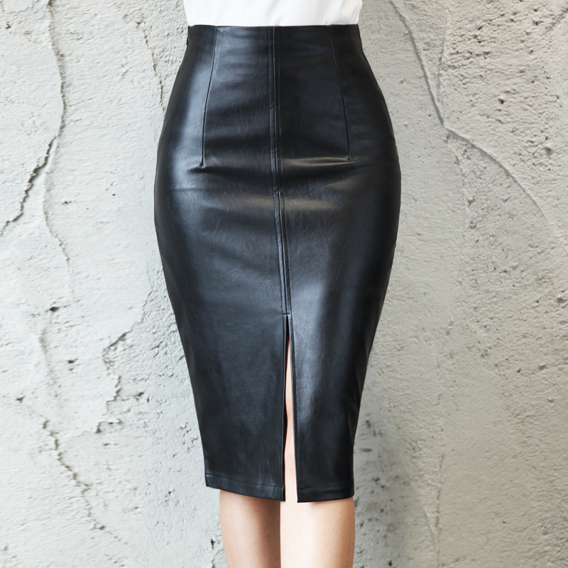 Black PU Leather Skirt Women <font><b>2019</b></font> New Midi <font><b>Sexy</b></font> High Waist Bodycon Split Skirt Office Pencil Skirt Knee Length Plus Size image