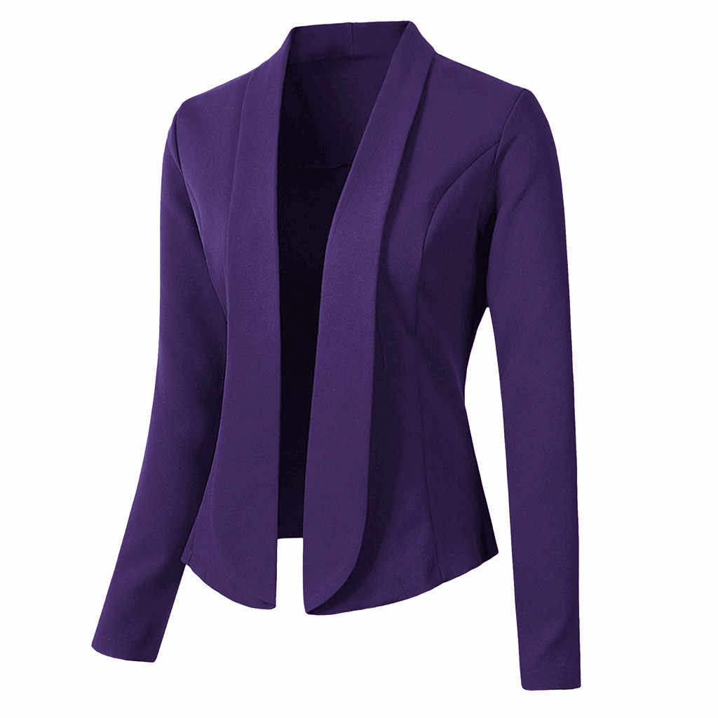 JAYCOSIN ブレザー女性カーディガンコート長袖ジャケット女性の事務服オーバーコート 2019 秋エレガントなスリムドレスツイードブレザー