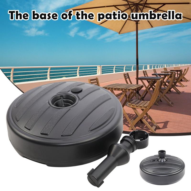 Water Sand Filled Patio Umbrella Base 15.0'' Round Plastic Outdoor Market Umbrella Stand for Garden Lawn 35-38mm Rod SCV