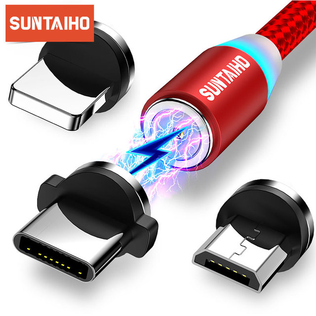 Suntaiho – câble magnétique 3A USB Micro et type c pour recharge rapide et données, cordon de chargeur pour iphone 11, Samsung S8, Huawei, Xiaomi mi 9
