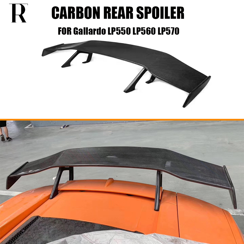 Carbon Faser D Stil Hinten GT Flügel Boot Lip Spoiler Für Lamborghini Gallardo LP550 LP560 LP570