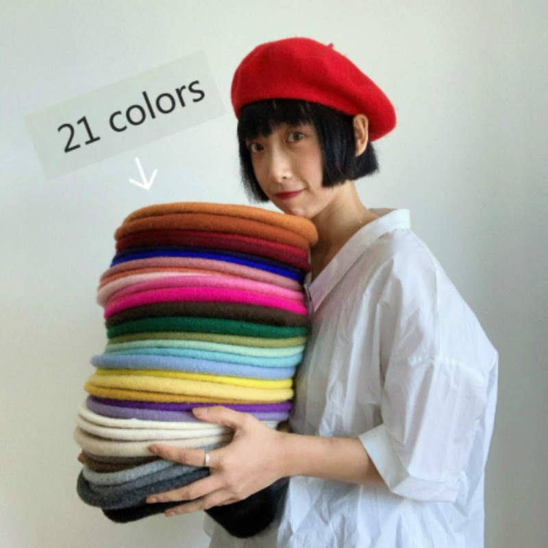 Girl Solid Color Beret French Artist Warm Wool Winter Beanie Hat Retro Vintage Plain Beret Solid Color Elegant Ladies Winter Hat