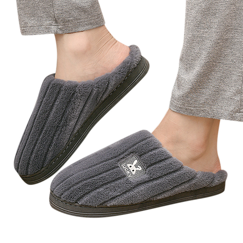 2019 Mens slippers  Couples Rabbit Warm Non-slip Floor Home Slippers Bedroom Shoes zapatos de hombre тапочки теплые мужские#A25