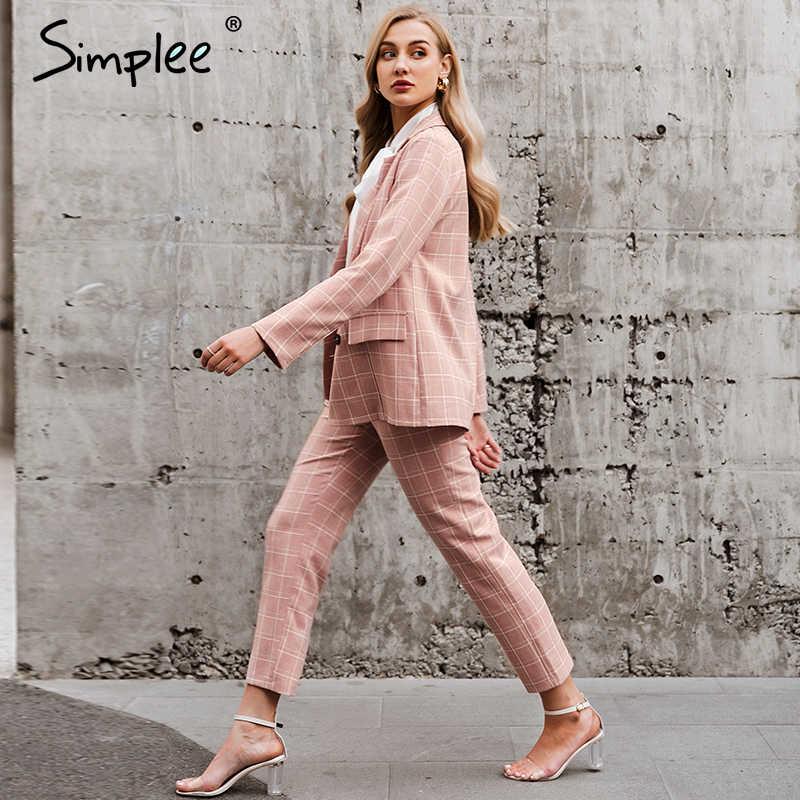 Simplee ファッション格子縞の女性のブレザースーツ長袖ダブルブレストブレザーパンツセットしピンクオフィスレディースツーピースブレザーセット