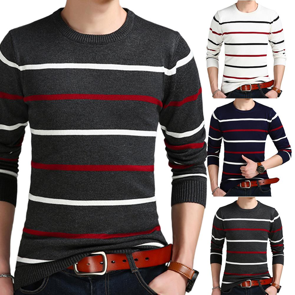 Plus Size Sweater Men Casual Long Sleeve O Neck Sweaters Pullovers Stripes Slim Knitted Sweater Knitwear For Men Sweaters Top