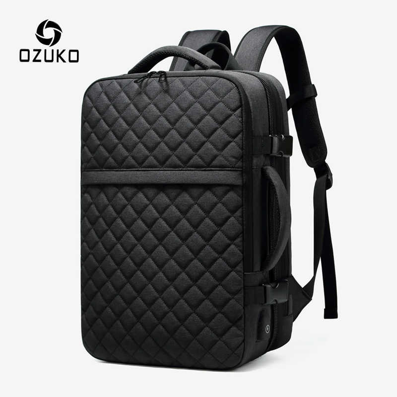 OZUKO Men Expandable Large Capacity Backpack Male 15.6 inch Laptop Backpacks Men's USB Charging Waterproof Travel Bag Mochila