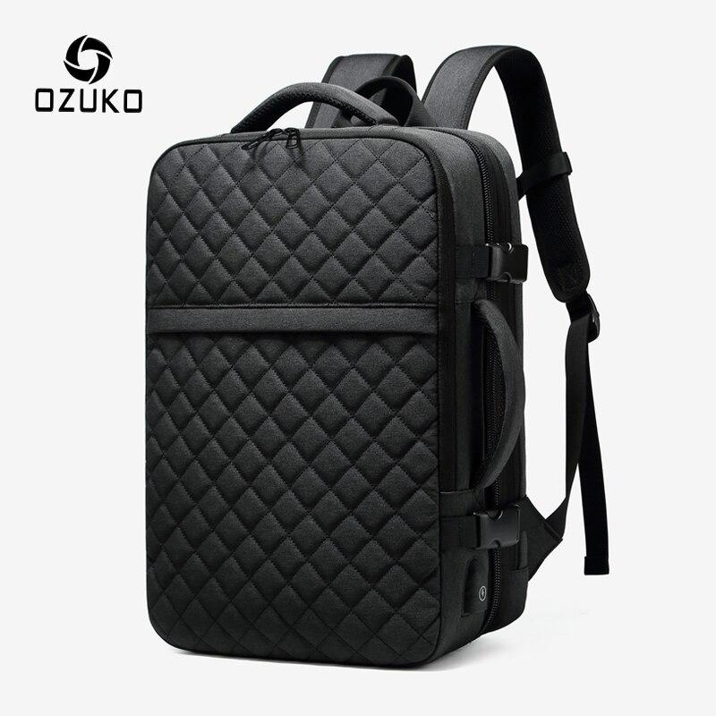 OZUKO Men Expandable Large Capacity Backpack Male 15.6 Inch Laptop Backpacks Men's USB Charging Waterproof Travel Bag Mochila