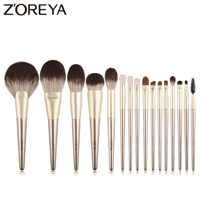 ZOREYA 16Pcs Gold Luxury Makeup Brushes Super Quality Synthetic Hair Make Up Brush Kit Eye Shadow Blending Powder Tools Set