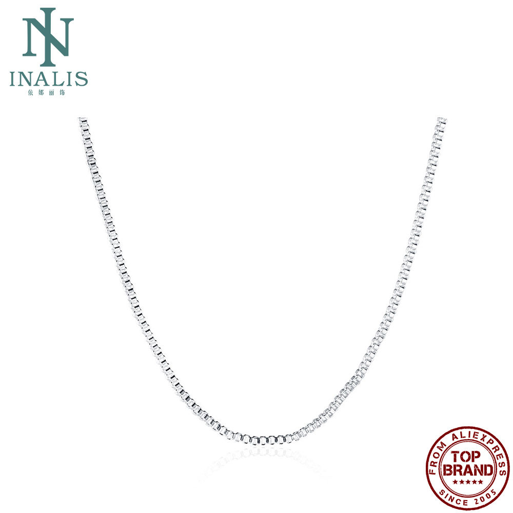 INALIS 18 Inches White Fashion Geometric Snake Chain Unisex Necklaces For Women And Men Simple Copper Matching Chains Jewelry