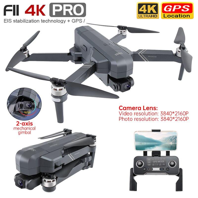 SJRC F11 4k Pro Drone 2 Ось Gimbal Профессиональный GPS Wi-Fi FPV Дрон с бесщеточным двигателем поддерживает карты памяти SD карты складной Радиоуправляемый к...