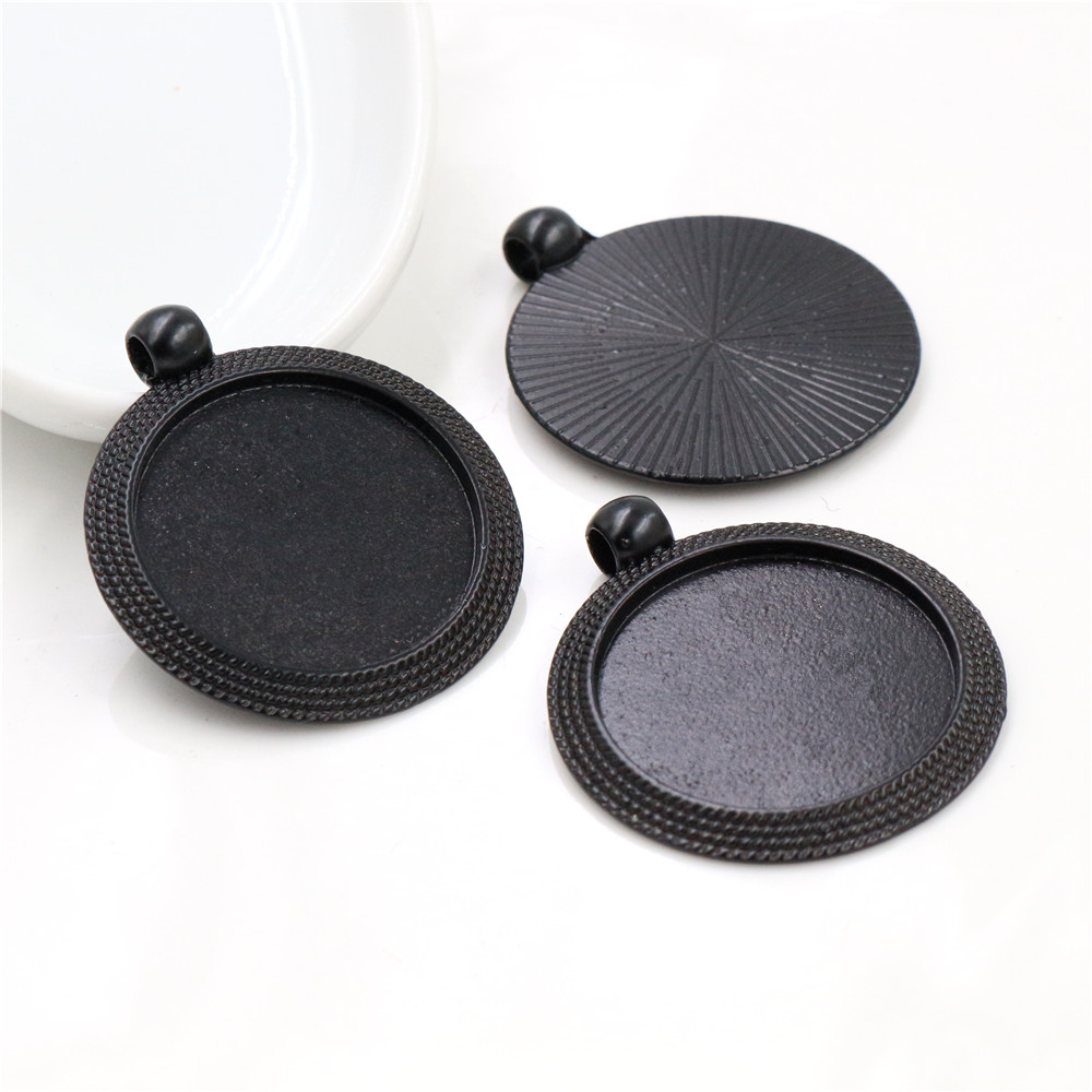 New Fashion 5pcs 25mm Inner Size Black Classic Simple Style Cabochon Base Setting Charms Pendant (A6-35)