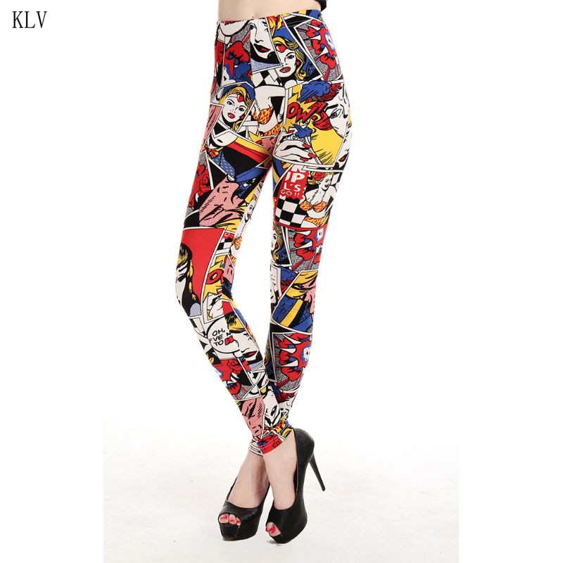Women Mid waisted Milk Fiber Skinny   Leggings   Cartoon Anime Figures Print Pencil Pants Trousers