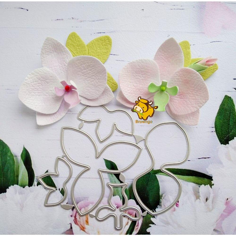 Phalaenopsid Flower Metal Dies Stencil Template for Embossing DIY Scrapbooking Paper Album Gifts Cards Making New Dies for 2020