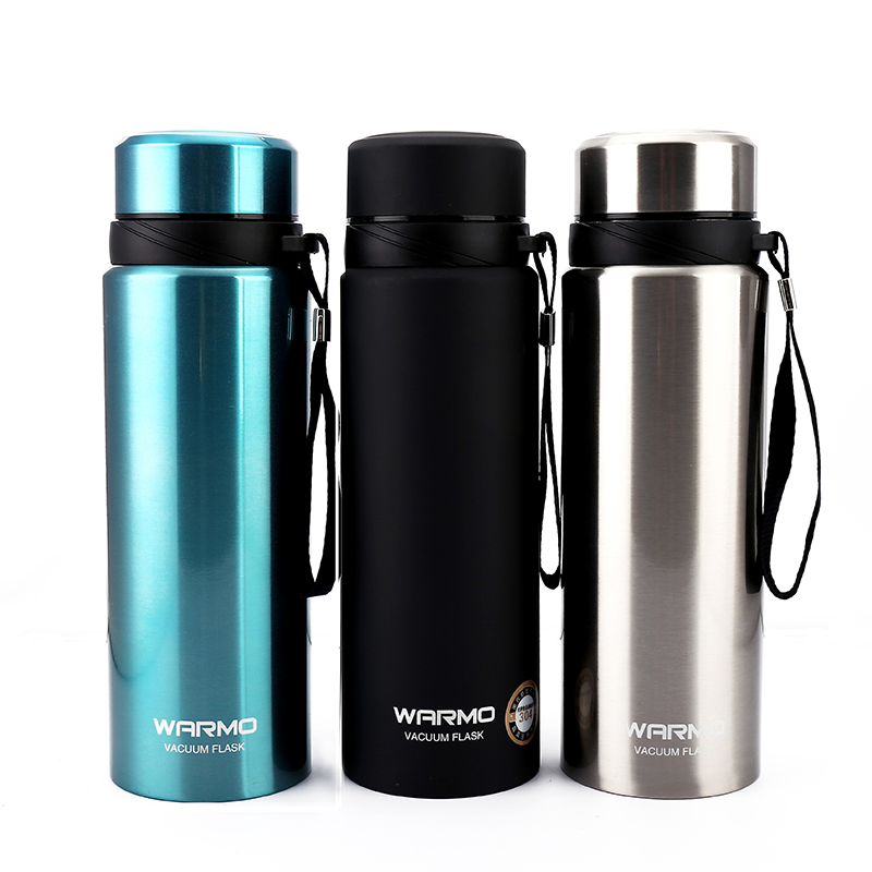 FLASK THERMAL HOT and COLD DRINK GLASS TRAVEL VACUUM PLASTIC  1L WITH 2 MUGS