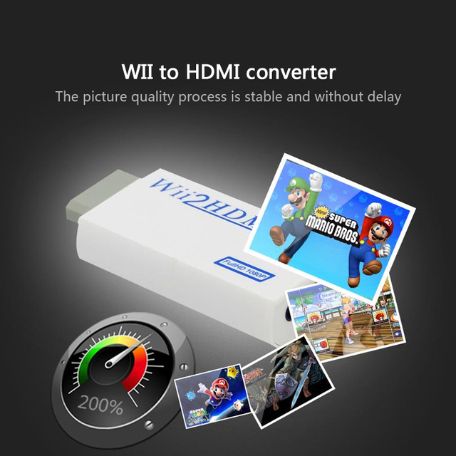 For Wii HDMI Converter Adapter 3.5mm Jack AUX Audio Video Output Full HD 720P 1080P For HDTV PC  Monitor Display Wii2HDMI ADAPTE