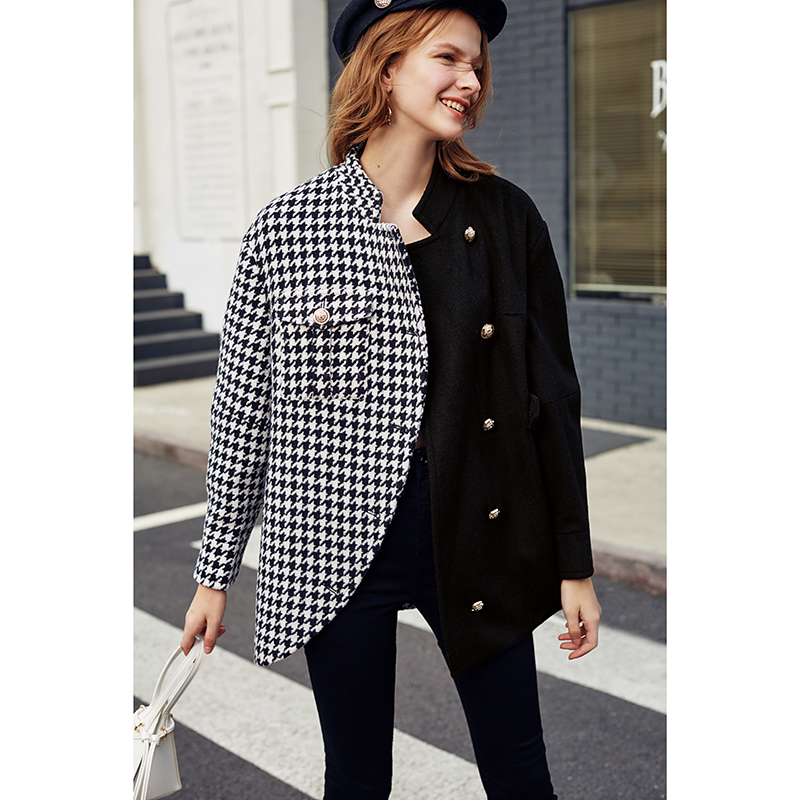 Image 3 - AEL Asymmetry Blazer casual Woollen jacket coat autumn winter  fashion swallow gird based ladies fashion wear 2019 newBlazers   -