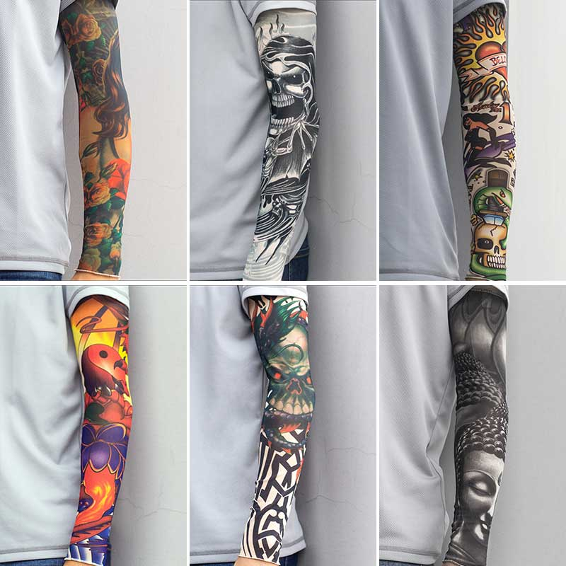 Наружная татуировка, рукав для защиты от солнца, гетры для бега, компрессионные велосипедные рукава, УФ-защита, спортивные велосипедные