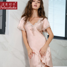 Sleepwear Clothing Nightgown Robes Lace Female Pure-Silk Womens Summer 100 Home Red-Long