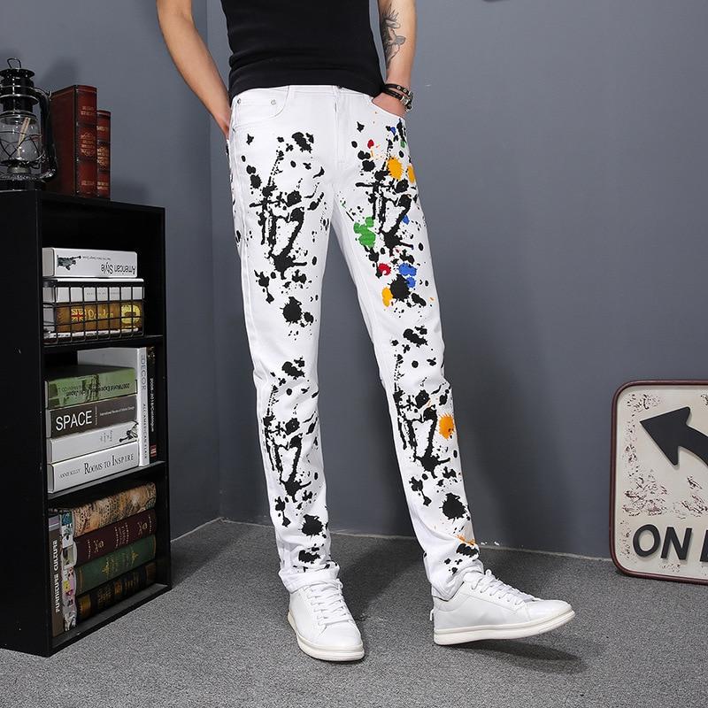 2020 Spring Straight Denim Trousers Men Fashion Printing Slim Jogger Pencil Pants Casual Street White Hip Hop Men Zipper Jeans