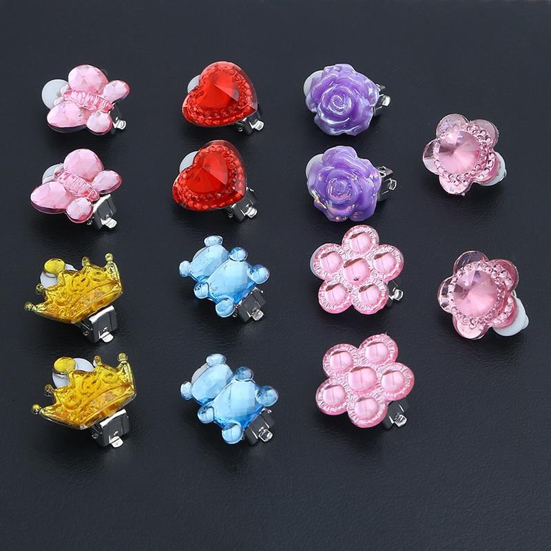 7pcs/lot Mixed Flower Heart Styles Lovely Children Jewelry Baby Girl Clip On Earrings Kids Ear Clip No Pierced Painless Earrings