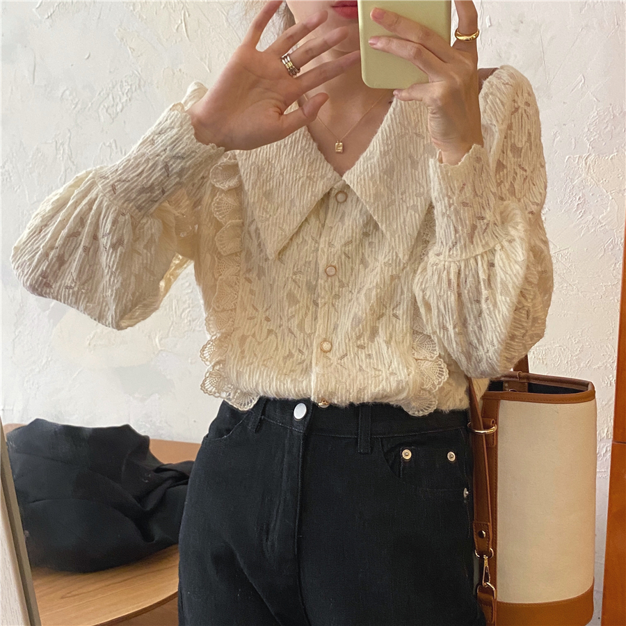 H5f4984ffdd73435ea920f31c287b0e96V - Spring / Autumn Chelsea Collar Long Sleeves Lace Blouse