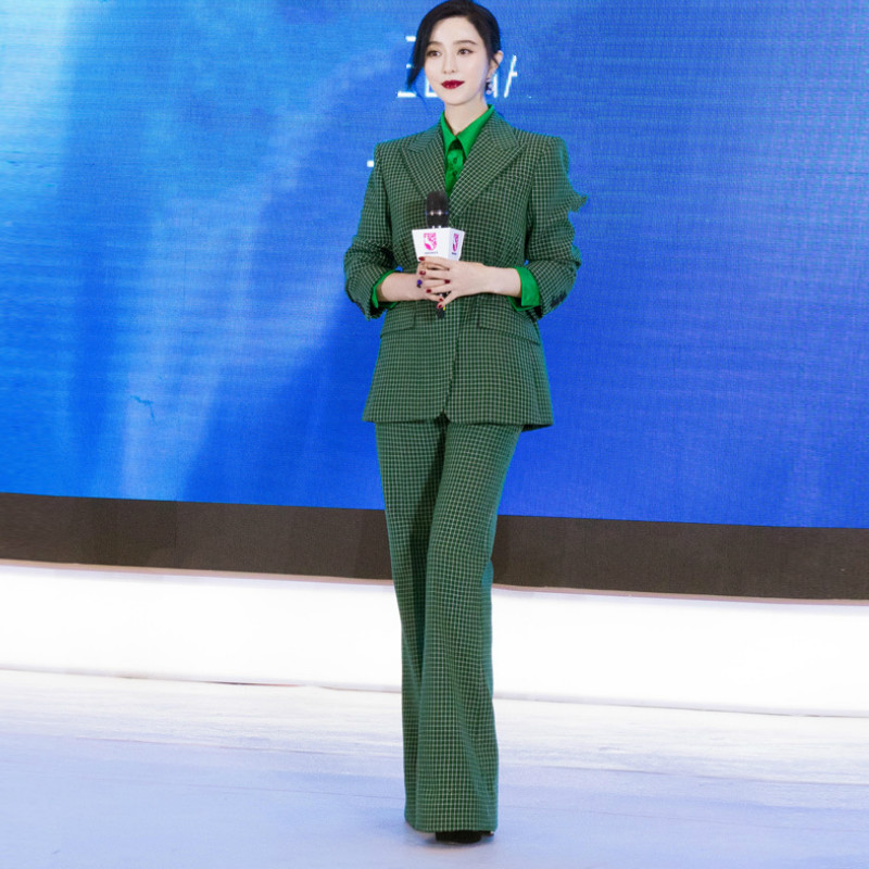 Temperament Women's Suits High Quality Pants Two-piece Suit 2019 New Winter Green Slim Check Ladies Jacket Casual Trousers
