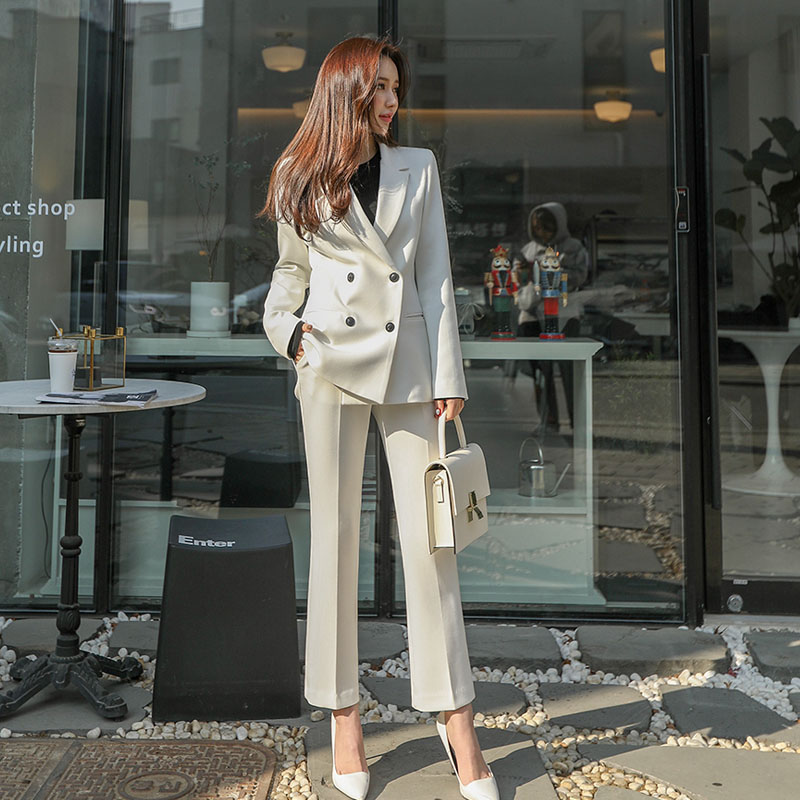 High Quality Business Women's Suits 2019 New Winter Slim Ladies Jacket Blazer Women's Office Casual Trousers Suit Two-piece