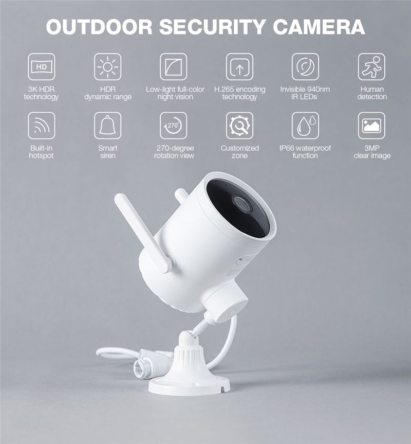 Imilab EC3 outdoor camera IP camera 025 update global version 2K HD CCTV Wi-Fi hotspot router rotatable Mijia