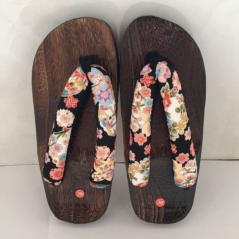 Sakura Geta Clogs Japanese Traditional Chinese Printed Kimono Wooden Flip Flops Home Women Shoes Outdoor Sandals Cosplay Costume