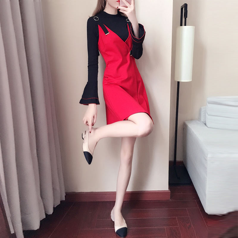 Autumn Clothing Two-Piece Women's 2019 New Style Korean-style Sweater Strapped Dress-Style Set A Generation Of Fat 9045