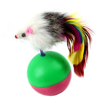 Soft Fleece Durable Pet Cat Toys Mimi Favorite fur Mouse Tumbler Kitten Feather with Plastic Play Balls Catch Cats