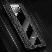 حافظة لهاتف هواوي ميت 30 20X10 برو RS بورش ديزاين 20X 5G P30 برو حافظة من السيليكون والاكريليك جلد طبيعي
