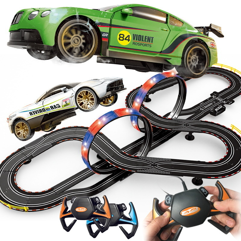 Electric Railway Train Track Set Slot <font><b>Car</b></font> Toy Autorama Circuit Voiture Double Remote Control Race Track For Boy Toys Child Gift image
