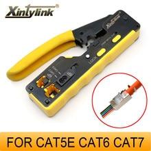 Xintylink ez rj45 alicates crimper rg45 cat5 cat6 cat7 cat8 ferramenta de rede ethernet cabo stripper braçadeira pinças clipe lan tudo em um