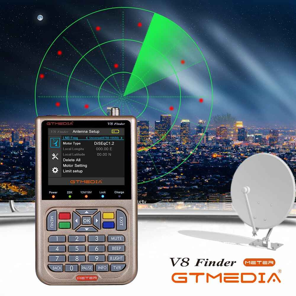 Gtmedia V8 Finder DVB-S2/S2X Fta Digitale Receptor Satfinder Meter Hd 1080P Satelliet Finder Tool Acm Sat Finder lnb Signaal