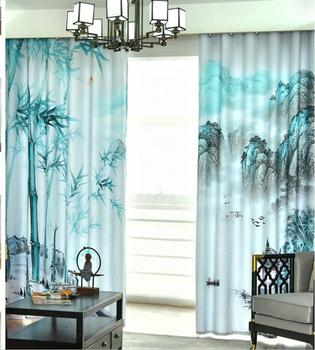 New curtains simple modern Chinese style landscape bamboo living room bedroom shading curtains personality curtains