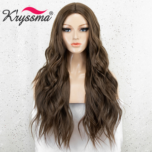 Image 2 - Kryssma Brown Wigs For Women Long Wavy Synthetic Wigs Womens Cosplay Wigs Heat Resistant Fiber Hair Wig Full Machine Made Wig