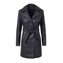 2019 New Women Leather Jacket Elegant Fur Double Breasted Waistband Long PU Leather Jacket Fall Winter Lady Plus Velvet Overcoat