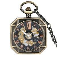 Stylish Roman Numerals Dial Pocket Watch Hand winding Men Mechanical Pocket Watches Retro Bronze Rough Chain Pendant Clock