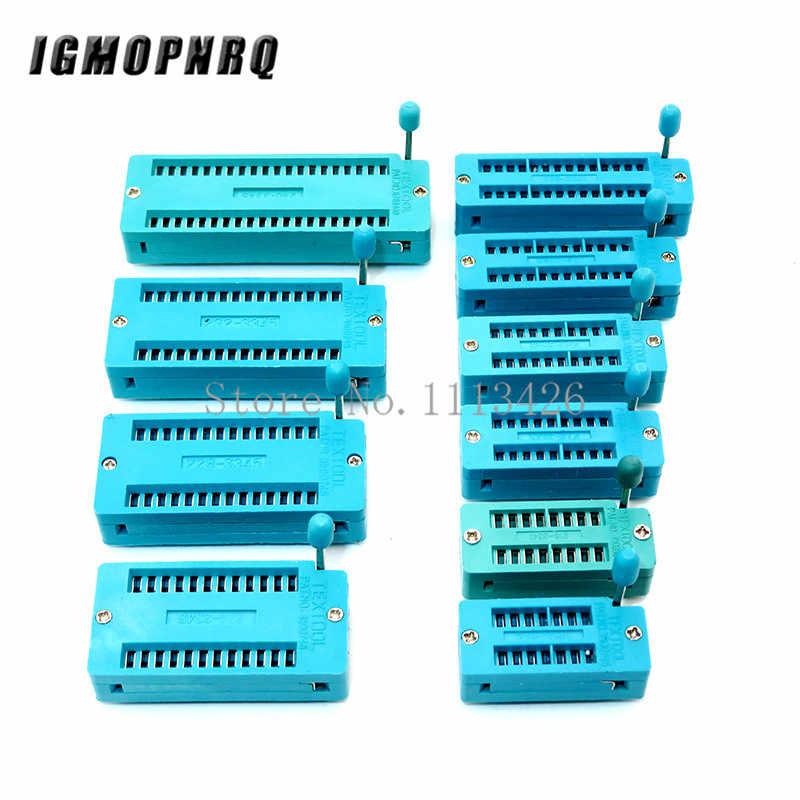 1 sztuk/partia 14 16 18 20 24 28 32 40 P Pin 2.54 MM zielony DIP uniwersalny ZIF gniazdo IC test typu lutowane IC blokada siedzenia zif socket