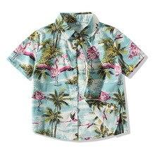 Детская футболка в Корейском стиле летняя рубашка с короткими рукавами в пляжном стиле для мальчиков детская рубашка с отложным воротником
