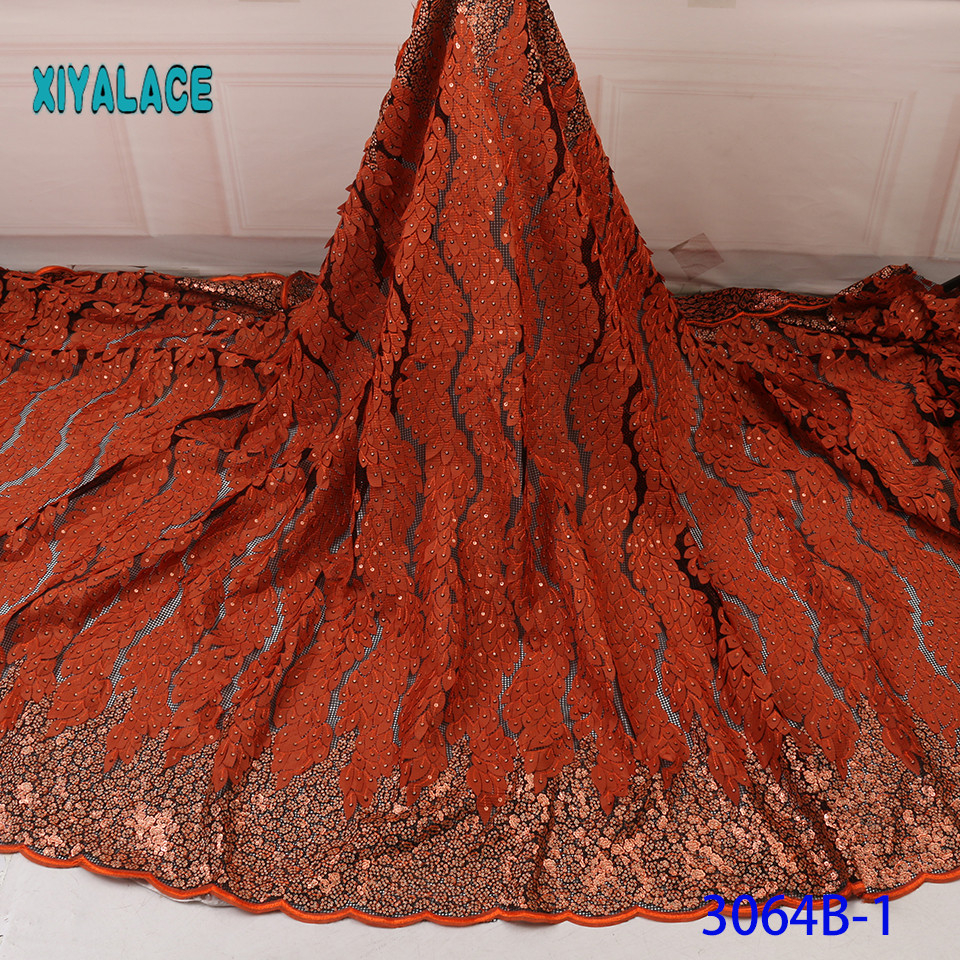 2019 High Quality Beaded Nigerian Lace Sequins Laces Fabric Embroidery French Tulle Lace With Stones For Bridal YA3064B-1