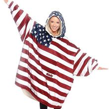 American flag Sherpa Blanket With Sleeves Super Soft Warm Outdoor Pocket Hoodie Adult Winter Hooded TV Blankets Customizable