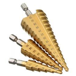 """3 sztuk Hss zestaw wierteł stopniowych stożek Hole Cutter stożek Metric 4 12/20/32mm 1/4 """"pokryte tytanem metalowy Hex wiertła koronowe w Wiertła od Narzędzia na"""