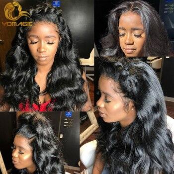 Yomagic شعر الجسم موجة 13*6 الدانتيل الجبهة الباروكات للنساء أسود اللون الاصطناعية الشعر غلويليس الدانتيل الباروكات مع خط الشعر الطبيعي