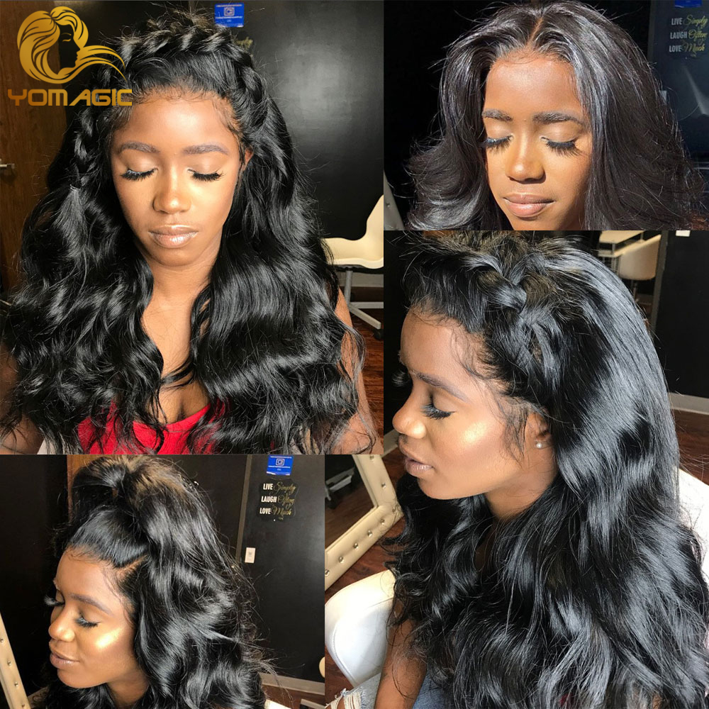 Yomagic Hair Body Wave 13*6 Lace Front Wigs For Women Black Color Synethetic Hair Glueless Lace Wigs With Natural Hairline