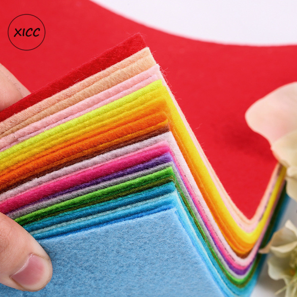 XICC Stock <font><b>1mm</b></font> Handmade Non Woven <font><b>Felt</b></font> Fabric Flowers DIY Craft Colorful Toy Dolls Sewing Material Needle Punch Home Decoration image