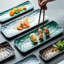 Nordic ceramiczne prostokątne Sushi długi talerz deser ciasto przekąska zachodnia jedzenie łosoś Sashimi grillowany skrzydełka kurczaka płyta japoński