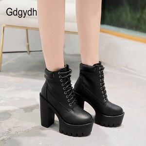 Image 4 - Gdgydh 2020 새로운 여성 발목 부츠 레이싱 부드러운 가죽 라운드 발가락 플랫폼 여성 짧은 부츠 블랙 화이트 고딕 두꺼운 발 뒤꿈치 신발